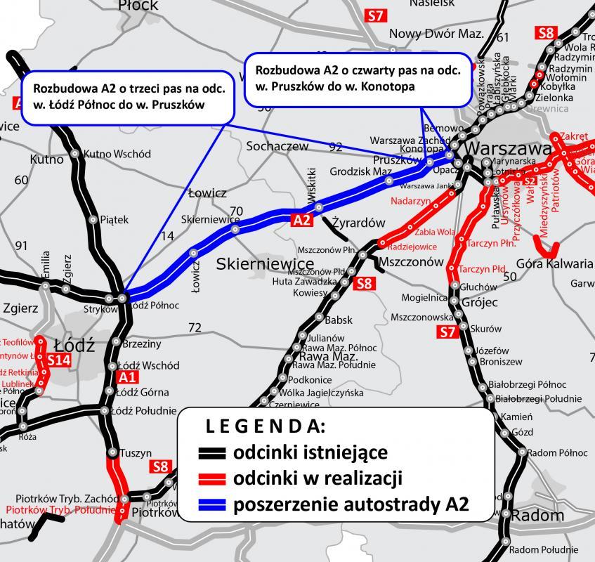 Umowa na opracowanie dokumentacji dla rozbudowy A2 Warszawa - Łódź